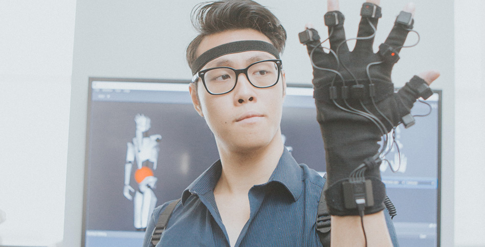 Student with virtual reality glove