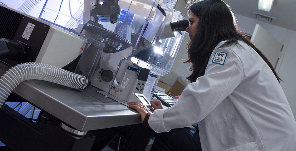 Student doctor using microscope