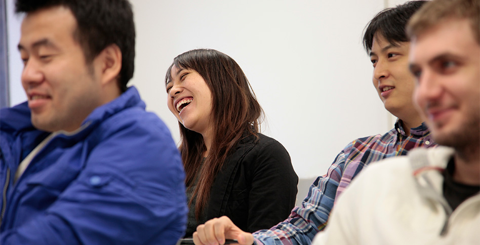 students laughing during lecture