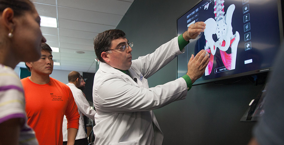 NYITCOM instructor working with students on a smart board anatomical model